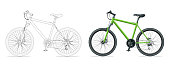 Outline bicycle outline isolated on white background. Mountain bike template for moped, motorbike branding and advertising. Vector illustration