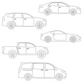 Outline cars set. Side view. Different type of vehicles: sedan, suv, van, pickup, coupe, sport car. Vector illustration.