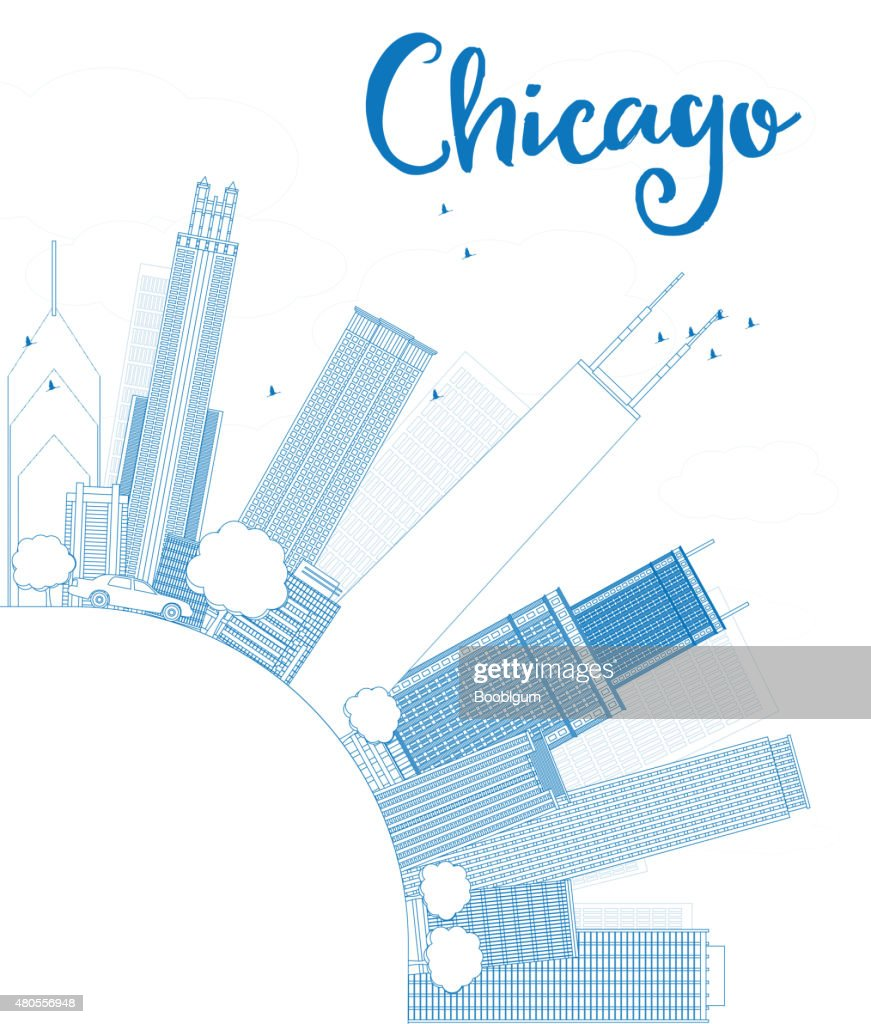 Outline Chicago city skyline with blue skyscrapers : Vector Art