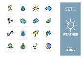 Outline color icons set in thin modern design style, flat line stroke vector symbols - weather forecast collection
