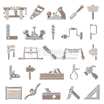 Outline Color Icons Traditional Woodworking Tools Vector Art