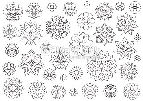 Outline Doodle Flowers For Adult Coloring Book Beautiful Floral ...