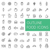 Line icons of food, fruits and vegetables, drinks and fast food, meat and fish, confectionery and bakery, etc.