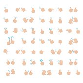 Outline Hand Finger Gesture Vector Icon Set