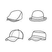 simple design outline hat, sketch hat icon set