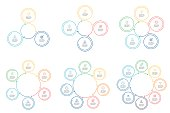 Outline infographics. Circular diagrams with 3 - 8 steps. Vector templates