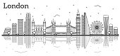 Outline London England City Skyline with Modern Buildings and Reflections Isolated on White. Vector Illustration. London Cityscape with Landmarks.