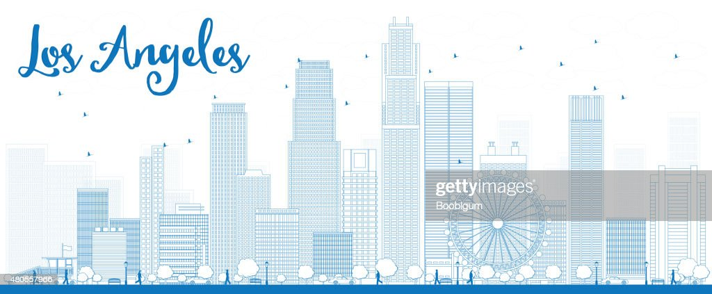Outline Los Angeles Skyline with Blue Buildings. : Vector Art