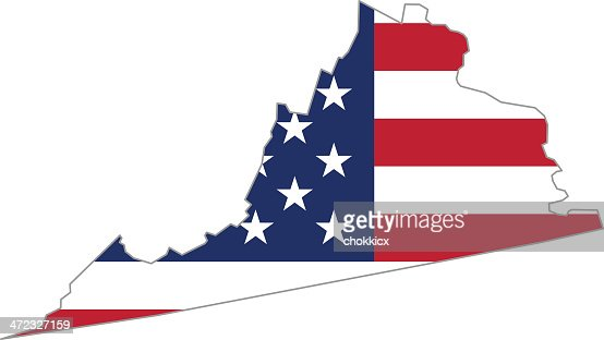 Outline Map Of Virginia State With American Flag Vector Art - Us map virginia state