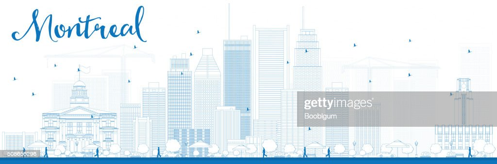 Outline Montreal skyline with blue buildings : Vector Art