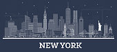 Outline New York USA City Skyline with White Buildings. Vector Illustration. Business Travel and Tourism Concept with Modern Architecture. New York Cityscape with Landmarks.
