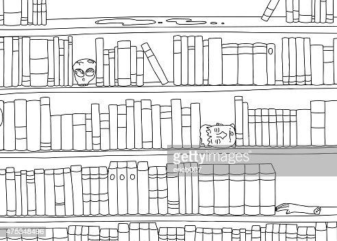 Bücherregal clipart schwarz weiß  Kontur Bizarrer Bücherregal Vektorgrafik | Thinkstock