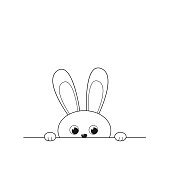 Outline cheerful funny peeking out little rabbit. Vector illustration isolated on white background