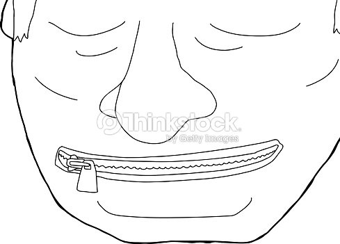 outline of man with zipped mouth vector art thinkstock