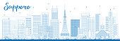 Outline Sapporo Skyline with Blue Buildings. Vector Illustration. Business and Tourism Concept with Modern Buildings. Image for Presentation, Banner, Placard or Web Site.