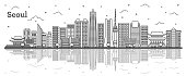 Outline Seoul South Korea City Skyline with Modern Buildings and Reflections Isolated on White. Vector Illustration. Seoul Cityscape with Landmarks.