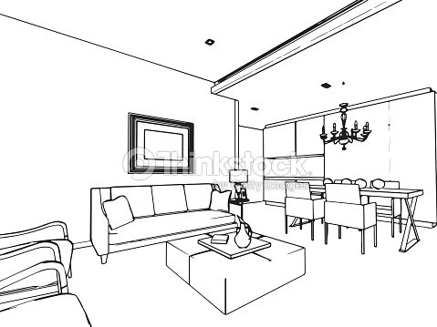 Outline sketch drawing interior perspective of house for Living room outline