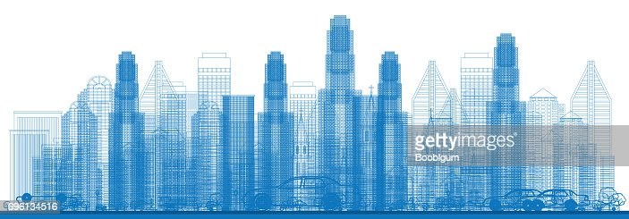 Outline Skyline with City Skyscrapers. : Vector Art
