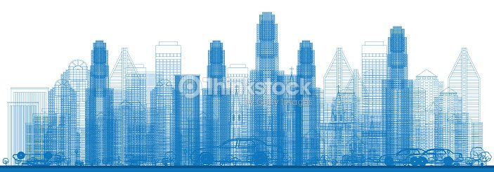 Outline Skyline with City Skyscrapers. : stock vector