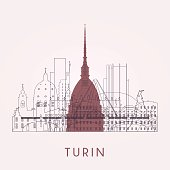 Outline Turin skyline with landmarks. Vector illustration. Business travel and tourism concept with historic buildings.