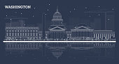 Outline Washington DC Skyline with White Buildings and Reflections. Vector Illustration. Business Travel and Tourism Concept with Historic Buildings. Washington DC Cityscape with Landmarks.