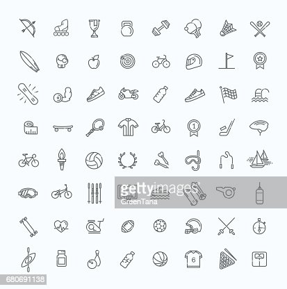 Outline web icon set - sport and fitness : Vector Art