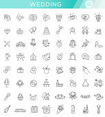 Outline web line vector icon set wedding