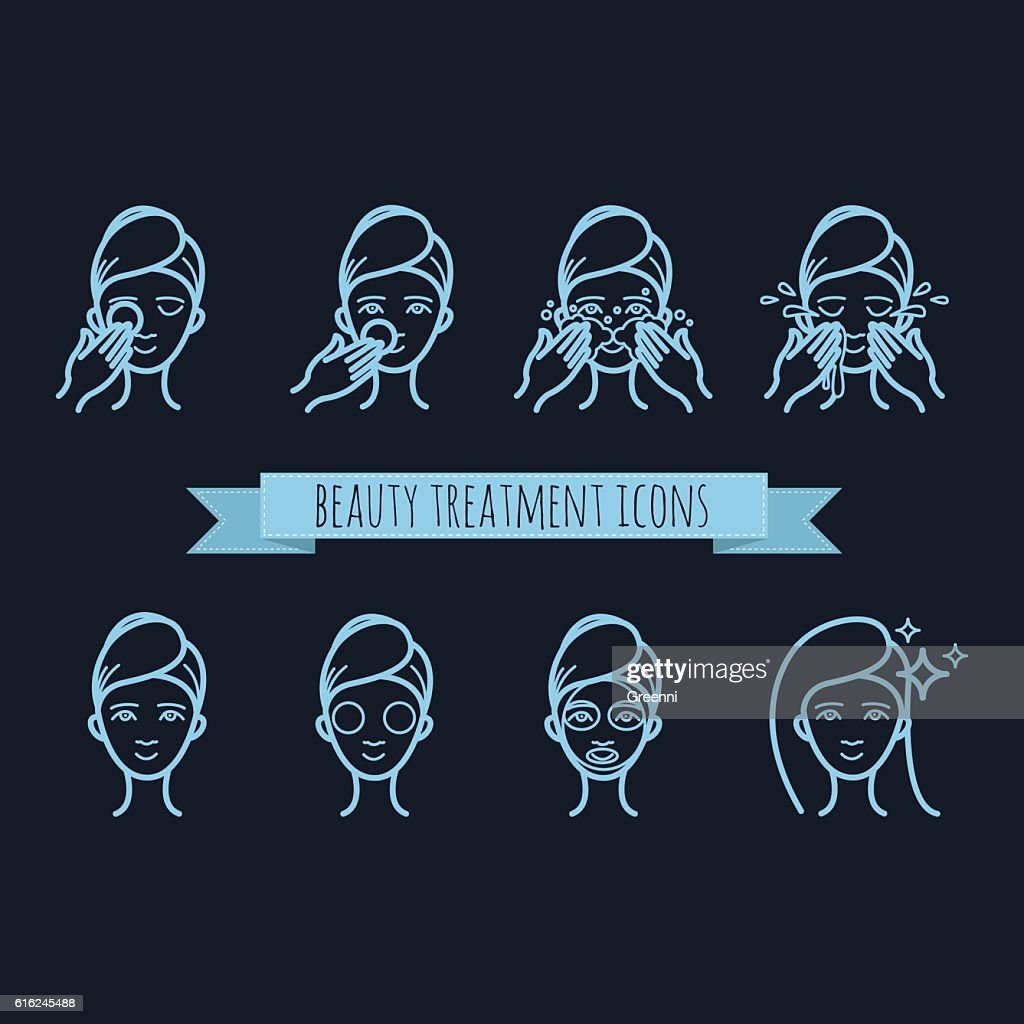 outline web icons - beauty treatment, face mask, care : Vector Art