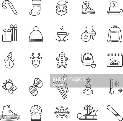Outline web icons - winter, christmas, holiday : Arte vettoriale