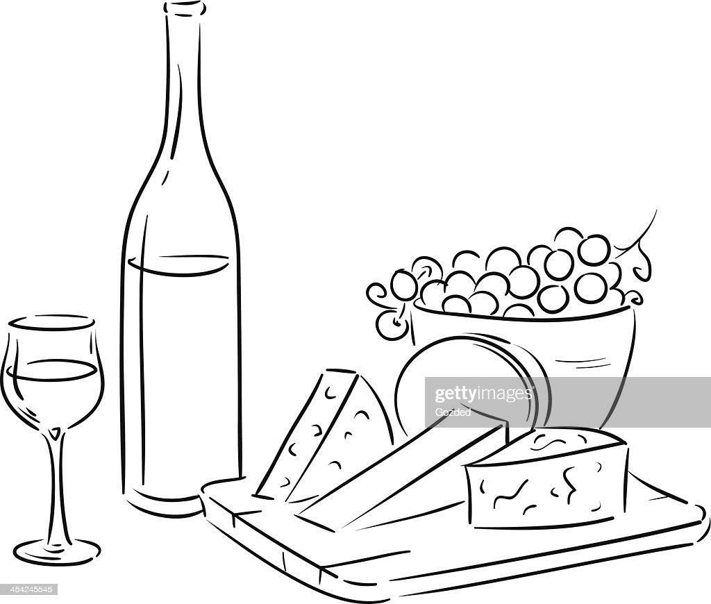 outline wine table : Vector Art