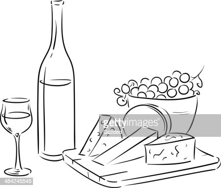 outline wine table : Vector Art