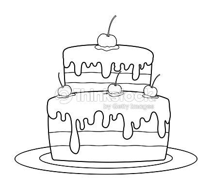 Describe Pastel De Cumpleaños Para Libro Para Colorear Arte ...