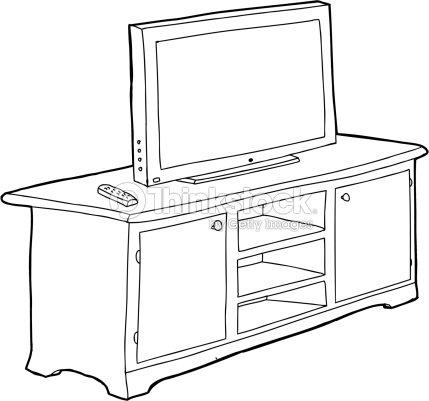 Detallado armario y televisor arte vectorial thinkstock for Mueble vector