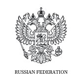 The illustration of outlined coat of arms of Russian Federation with two-headed eagle. Black and white.