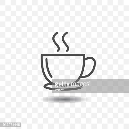 Outlined coffee cup icon simple vector on transparent background. : stock vector
