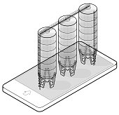 Wire drain silo isometric building in mobile phone, isometric. Outlined seed elevator agriculture, farming, husbandry in communication technology. Isolated vector illustration, white background.