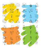 outlined icons decoration spring summer autumn winter weather season vector illustration