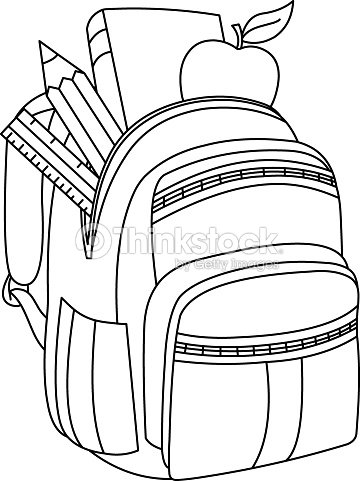Outlined School Backpack Vector Art | Thinkstock