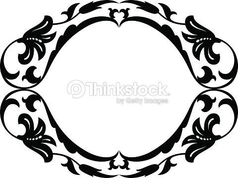 Cadre d coratif ornement ovale baroque clipart vectoriel for Miroir western