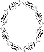 Hand drawn vector oval decorative frame for your design. Leaves and floral elements.