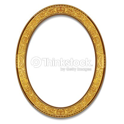 oval frame gold color with shadow ベクトルアート thinkstock