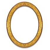 oval frame gold color with shadow on white background