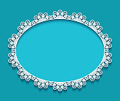 Oval frame with crochet lace border pattern, cutout paper ornament, elegant decoration for greeting card or wedding invitation design