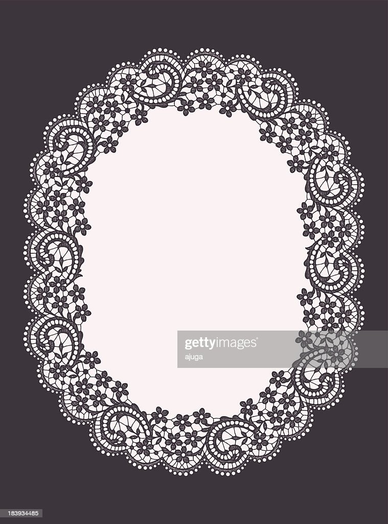 Oval lace frame : Vector Art
