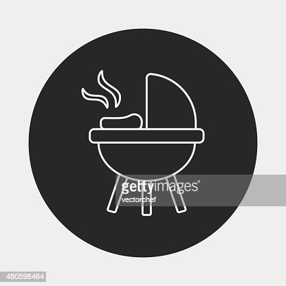 BBQ oven line icon : Vector Art