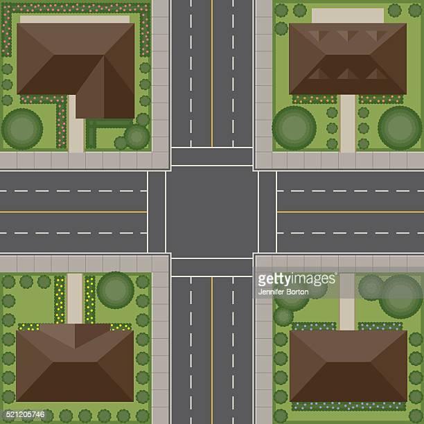 Sobre el punto de vista de la zona residencial de la intersección de tráfico