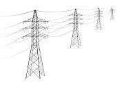 Overhead power line. A number of electro-eaves departing into the distance. Transmission and supply of electricity. Procurement for an article on the cost of electricity or construction of lines. Blac