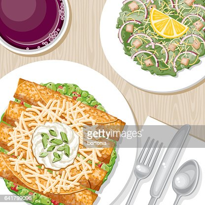 Dinner Table Overhead View : Spring Onion Stock Illustrations And Cartoons  Getty Images