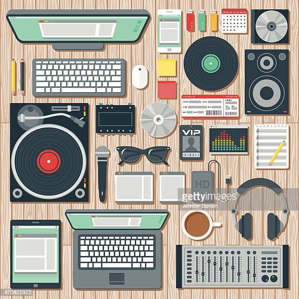 """Vue aérienne d'un disc Jockey """"espace de bureau"""