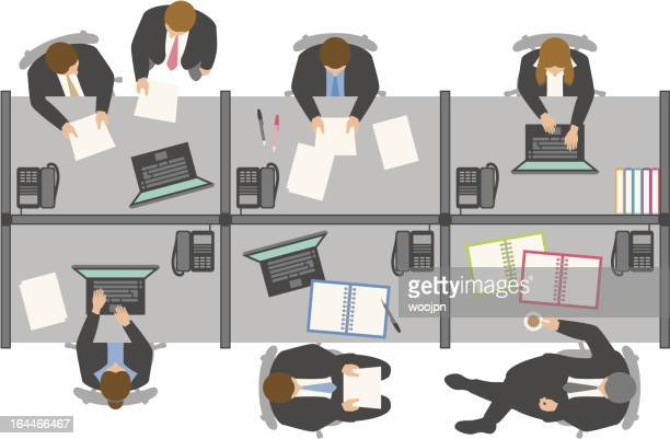 Overhead view of business people working in office